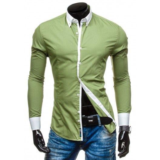 Pánska zelená košeľa s bielym lemovaním - fashionday.eu