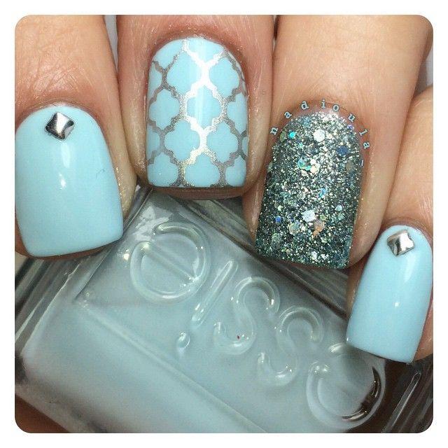 Essie Mint Candy Apple stamped using Fab Ur Nails Fun 7 in Sally Hansen Insta-Dri Silver Sweep. Glitter is Zoya Vega. Studs from Ebay. Top coat @glistenandglow1 #hkgirltopcoat