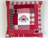 Decorative pillow patchwork red white For Home