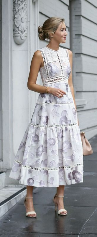 What to wear to high tea {white and lavender floral tea length dress, nude ankle strap pumps, nude satchel handbag + messy bun hairstyle}
