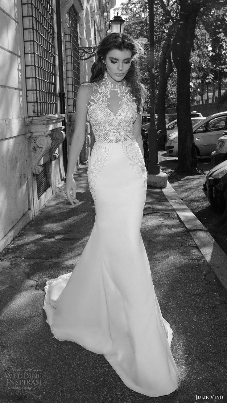 julie vino bridal spring 2017 sleeveless sweetheart illusion high neck sheath wedding dress (octavia) mv