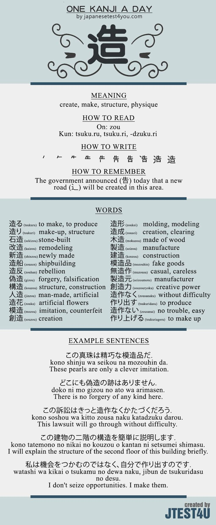 Learn one Kanji a day with infographic - 造 (zou): http://japanesetest4you.com/learn-one-kanji-a-day-with-infographic-%e9%80%a0-zou/
