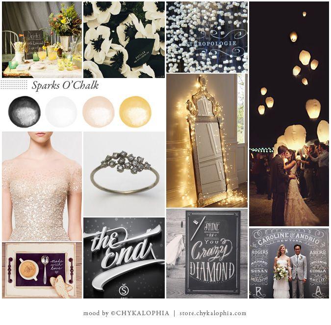 Chalk and sparkle wedding inspiration board | see more on http://burnettsboards.com/2014/02/sparks-o-chalk/