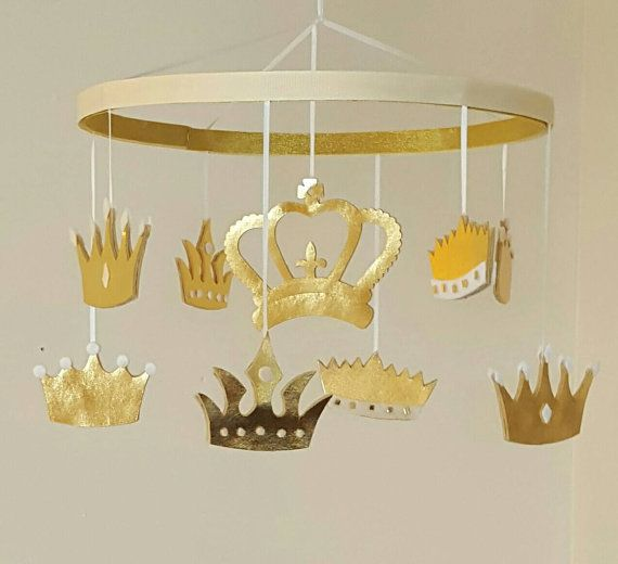 Royalty - Gold Crown Baby Mobile - Princess - Prince - King - Queen - Gold Nursery - Tiara - Crib Accessory - Girl - Boy - Gender Neutral