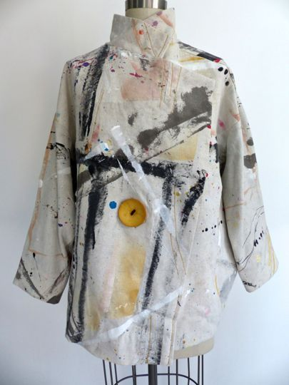 Diane Ericson uses a vintage, out of print Issey Miyake pattern paired with a canvas painter's drop cloth.