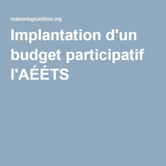 Implantation d'un budget participatif l'AÉÉTS
