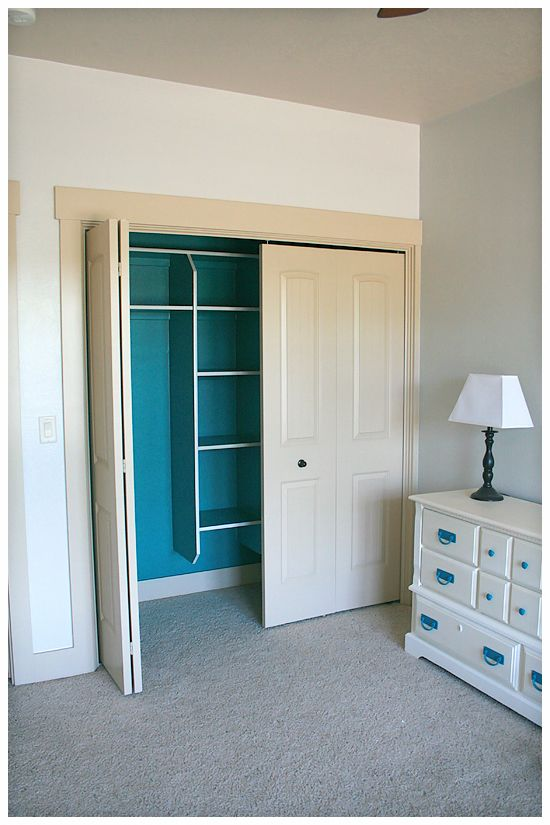 Do teal paint inside master bedroom closet, paint trim white, paint walls grey. Have an accent wall matching teal paint..