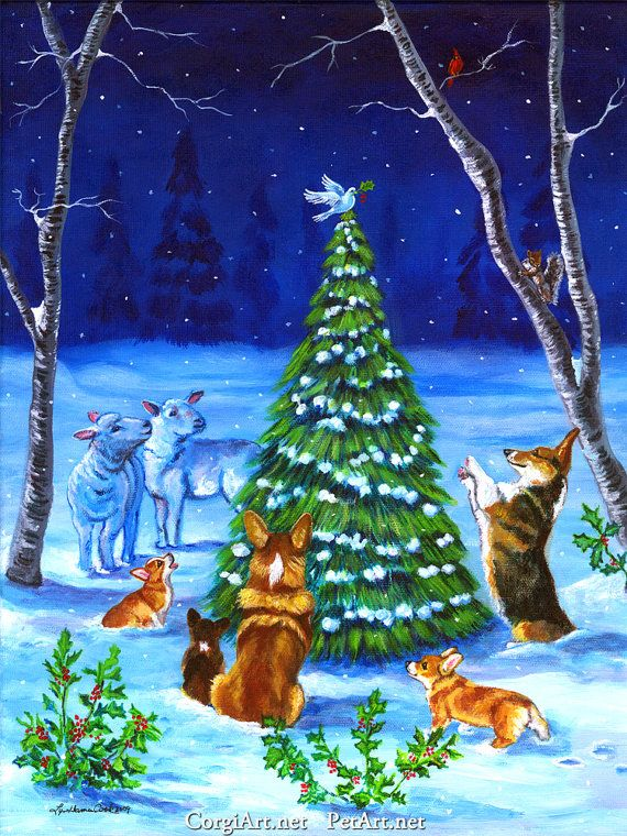 Pembroke Welsh Corgi Christmas Peace 9x12 fine art by artgineer .. on Epson Somerset Velvet paper, a truly remarkable paper with a watercolor paper look and feel, produced by a team of professional giclee print makers in NY. My Christmas Peace truly speaks of what this time of year embodies.
