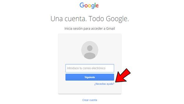Recupera la contraseña en Gmail