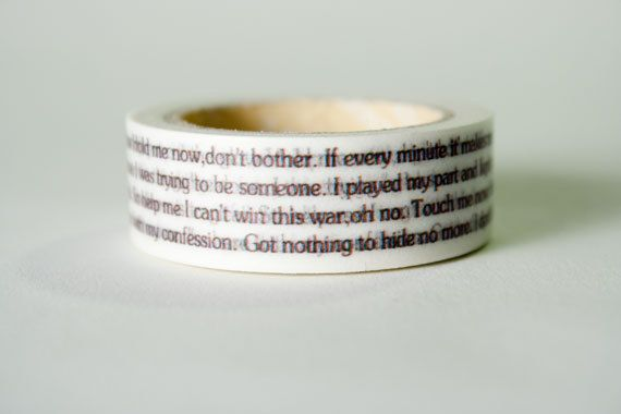 Washi Tape Backstreet Boys Lyrics Shape of My Heart by HexagonInc, $3.50