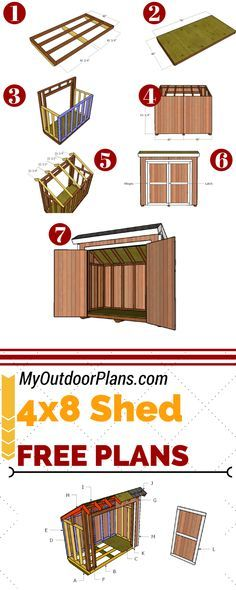 Build a 4x8 lean to storage shed for the backyard, so you can keep all the tools organized. Full plans at MyOutdoorPlans.com #diy #shed