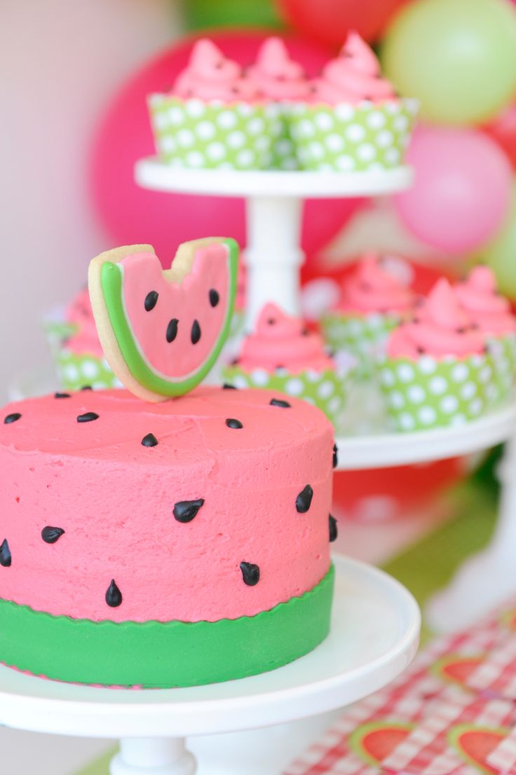 Children's Summer Watermelon Party. Watermelon Cake idea. Styling by Happy Wish Company.