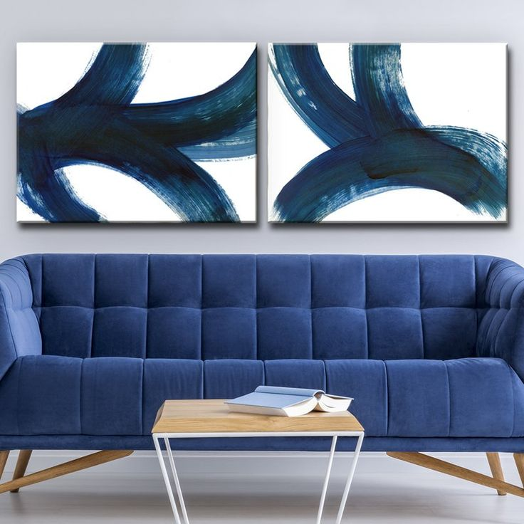 'In Bewegung I / II' 2-teiliger Acrylbild-Drucksatz auf umwickelter Leinwand
