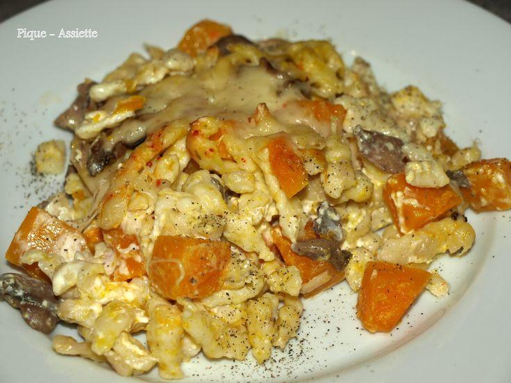 Spätzles gratinés au potimarron et champignons.