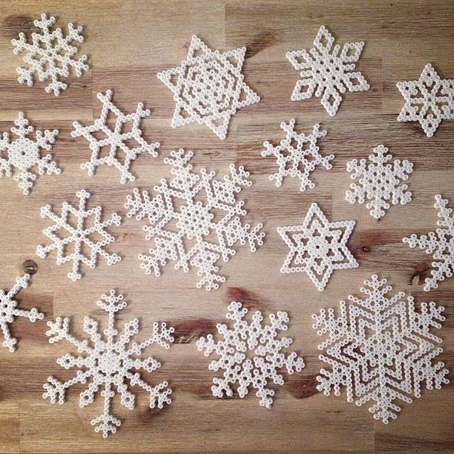 Snowflakes hama beads by craftstoreovik