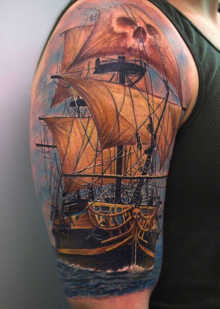 statek piracki - #tatuaż na ramieniu