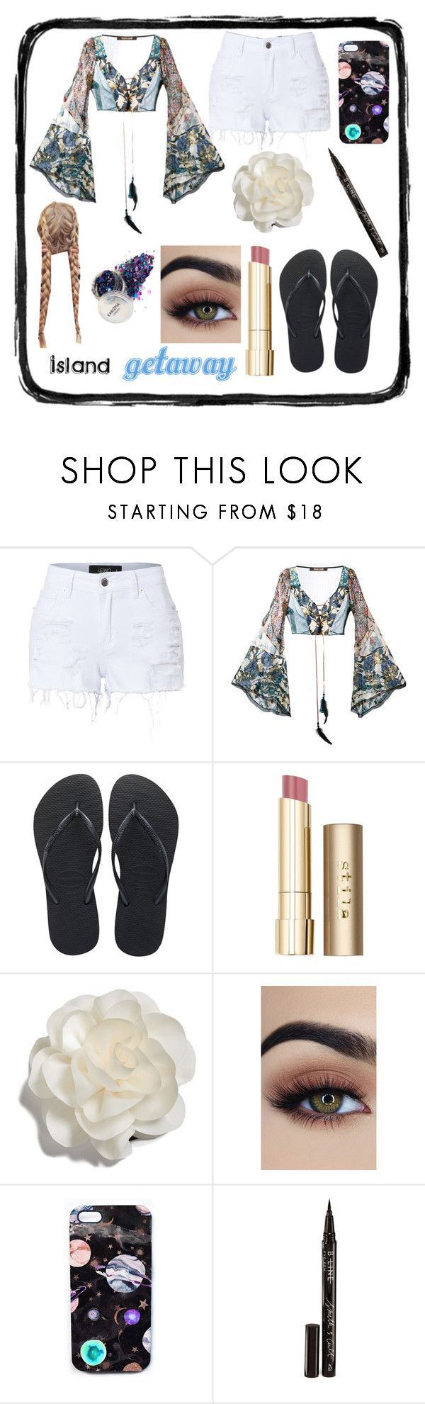 """""""Island getaway"""" by piixelated ❤ liked on Polyvore featuring LE3NO, Roberto Cavalli, Havaianas, Stila, Cara, Nikki Strange and Smith & Cult"""