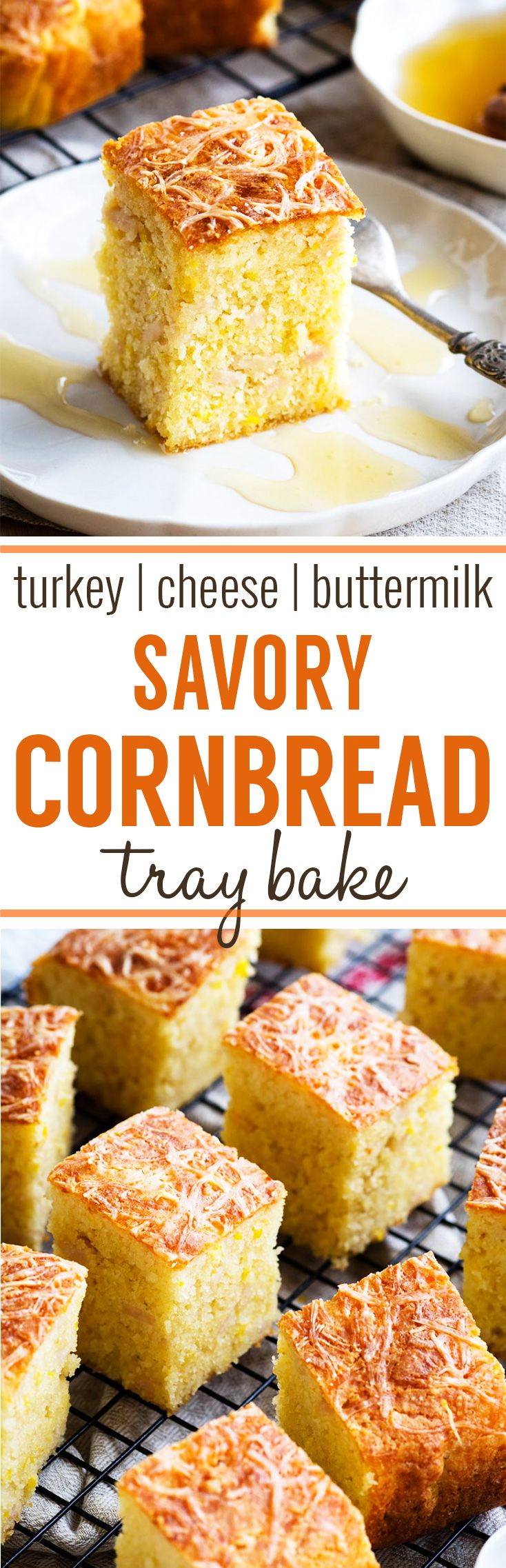 Savory Cornbread with Turkey and Cheese - this savory cornbread tray bake is perfect for feeding a family or crowd! A delicious Thanksgiving side dish, or serve it for breakfast using leftover turkey. This cornbread is made with buttermilk and corn kernels. #cornbread #thanksgiving #leftoverturkey