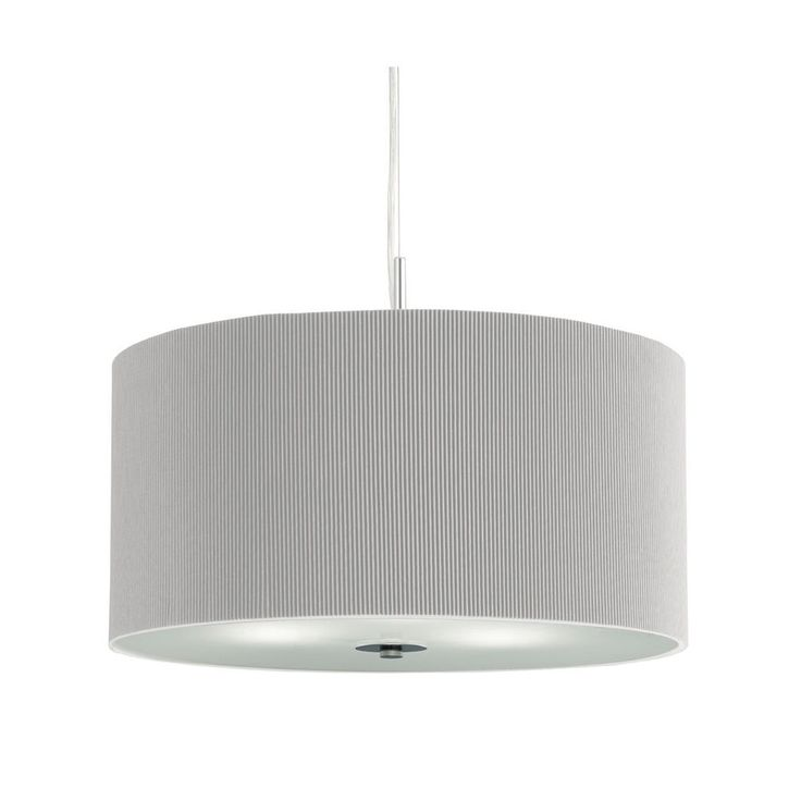 Searchlight 2353 40SI Drum Pleat Silver 3 Light Pendant Frosted Glass Diffuser