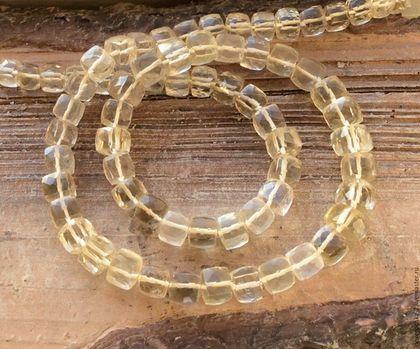 Лимонный топаз 6-7,5 мм кубик огранка бусины камни для украшений. Handmade.