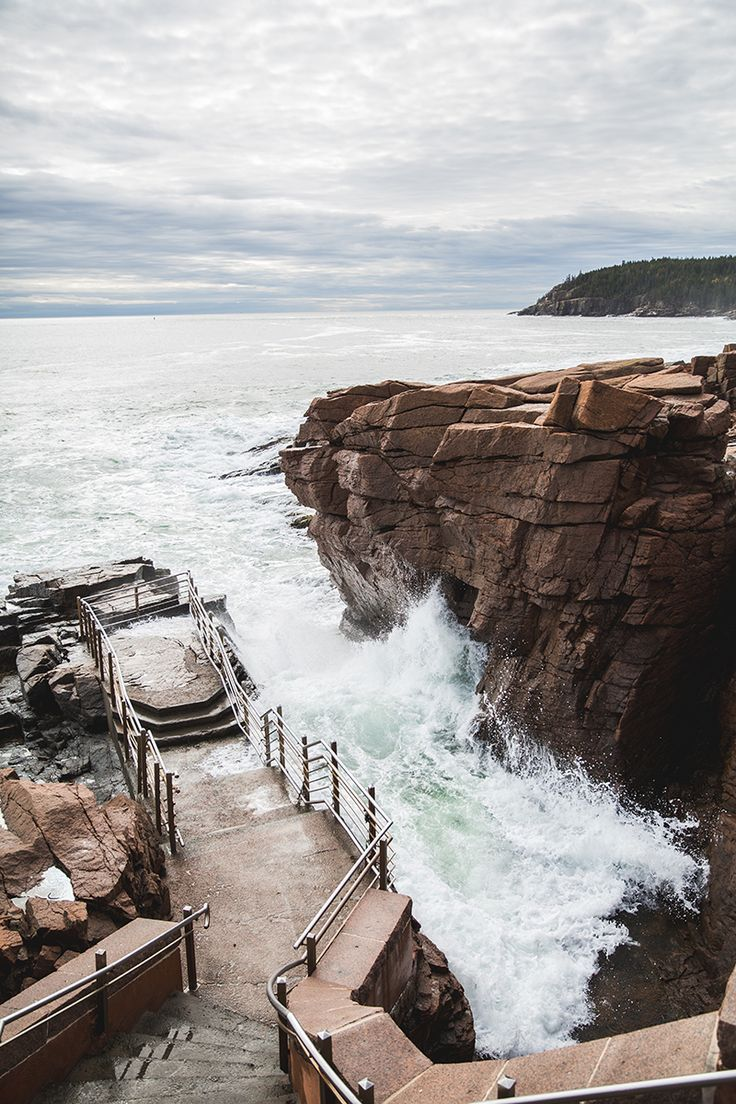 Thunder Hole, Acadia National Park, Maine - Travelers on Park Loop Road in Acadia National Park have certainly spoken these words many times; traveling past Sand Beach from the north, or past Otter Cliff from the South they are descending on one of Maine's most awe-inspiring natural wonders: Thunder Hole.
