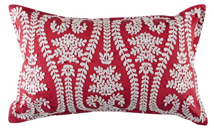 The Jocelyn cushion in red features a unique applique style stitched design in a beautiful fern pattern. Price $49.