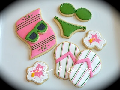 Pink and Green Beachwear Iced Decorated Sugar Cookies