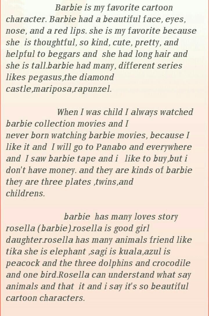 Essay On Barbie Cartoon Character Favorite Characters About Good