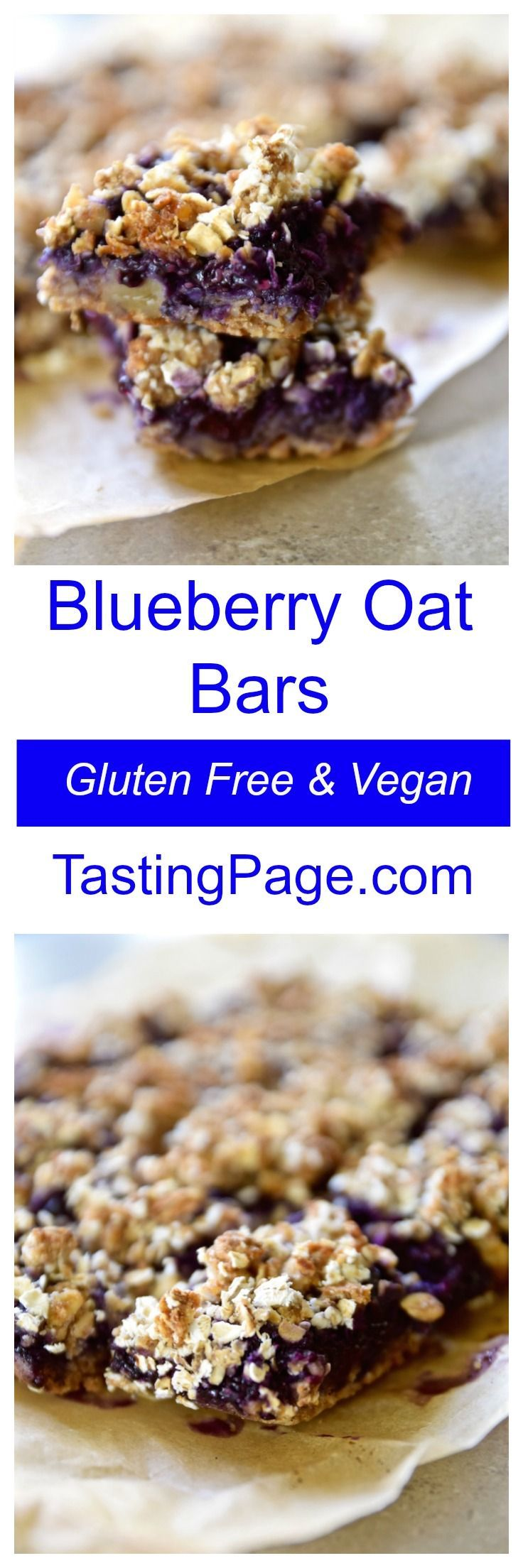 Gluten Free Vegan Blueberry Oat Bars. No refined sugar so eat them for breakfast or dessert | TastingPage.com