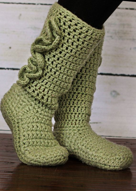 Adult Crochet Slipper Boots by swachica MIGHT HAVE TO TRY THIS - I LIKE THE TALL SILHOUETTE!