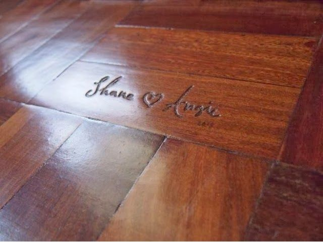 When installing wood floors, carve your names &/or date in your floor in an inconspicuous place.  I love the idea that it will be there for so many years to come.