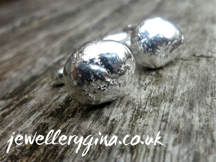 Organic Silver Pebble Cufflinks by JewelleryGina on Etsy,