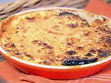 Eggplant Gratin.  This is one of our favorites.  I bake the eggplant on a cookie sheet for 20 minutes instead of frying.  I also cook in individual dishes.  I double or triple the recipe.  So good!