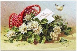 tuck's birthday postcard, white flower clover, basket of flowers, vintage postcard clipart, antique birthday image