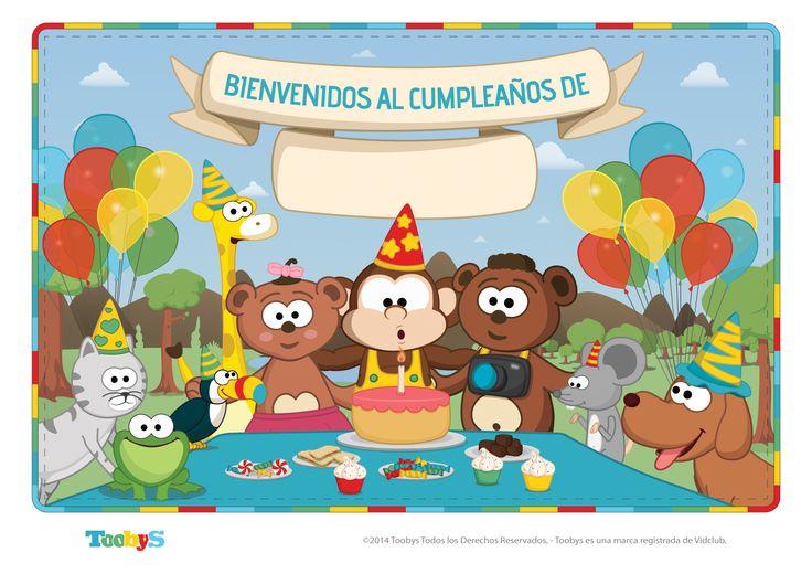 """Cartel """"Bienvenidos al cumpleaños de..."""". Formato A4. Medidas: 1754 x 1240. #Toobys #Cumpleaños #FiestasInfantiles #BienvenidoAMiFiestita #KitdeCumpleaños"""