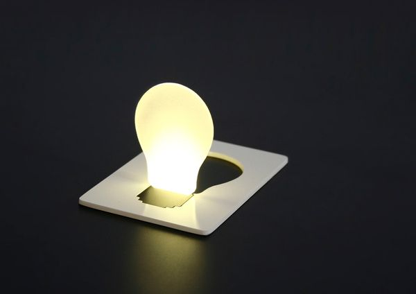 Pocket light. A card you can carry in your wallet is a portable lamp.