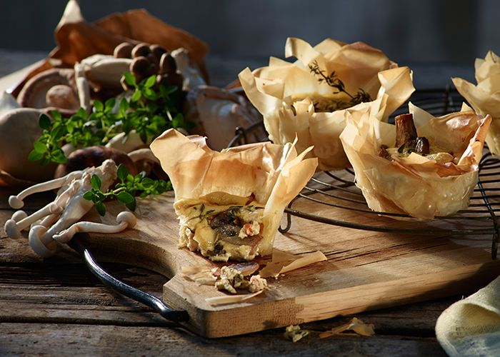 Red Pepper and Mushroom Phyllo Pastry Cheesecakes make for great appetisers.