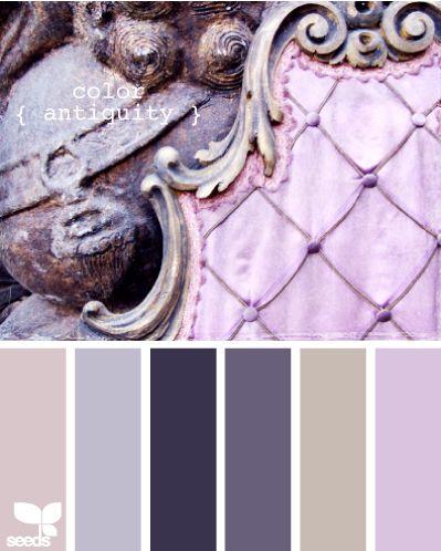 Vintage inspired wedding color palette in shades of lavender