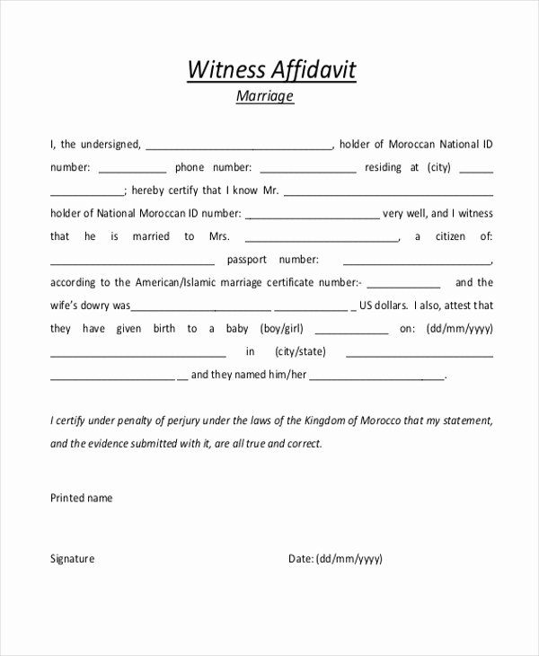 Sample Witness Statement Form Best Of Sample Witness Affidavit Form 8 Free Documen Good Essay Printable Inspirational Quotes Personal Development Plan Template