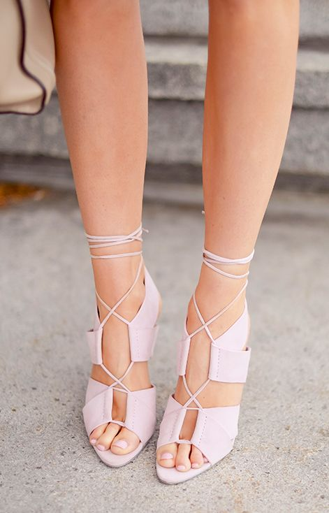 Lavender lace up heels.