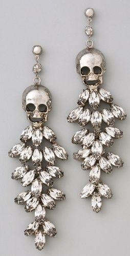 Tom Binns Tough Chic Skull & Rhinestone Earrings
