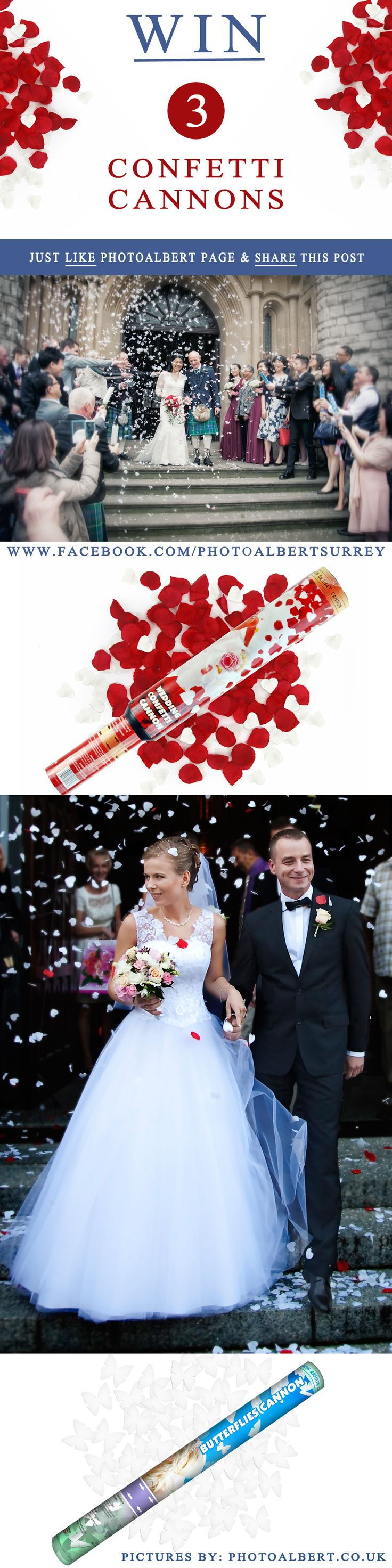 #Competition time !! We've teamed up with PhotoAlbert to bring you this fantastic opportunity to win one of 2 sets of Confetti Cannons (each set contains 3 cannons). TO ENTER: SIMPLY LIKE PhotoAlbert's FB PAGE AND SHARE THIS POST The competition closes 8th May 2016 at midnight. Good luck ! www.facebook.com/photoalbertsurrey #competition #wedding #confetti #bride #wedding_photographer #wedding_photographer_surrey