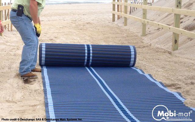 Mobi Mat Recpath Rollout Ada Beach Access Mat Beach Green Initiatives Beach Signs
