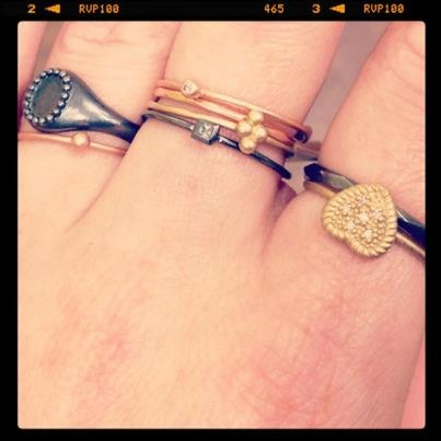 Danish blogger Camille from Clamour4Glamour with a lot of My Precious rings