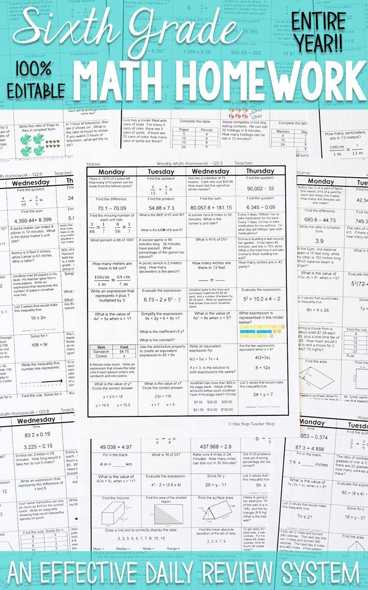 6th Grade Math Spiral Review 6th Grade Math Homework Or Warm Ups Resources For Teachers One Stop Teacher Shop Math Sixth Grade Math