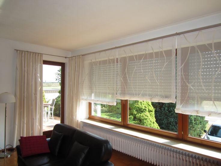 Raffrollos Und Dekoschal Mit Edelstahl Vorhangstange So Werden Panorama Fenster Im Wohnzimmer Richtig Schn