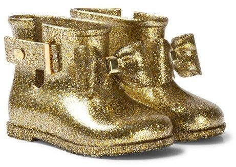 Mini Melissa Gold Glitter Bow Welly Boots