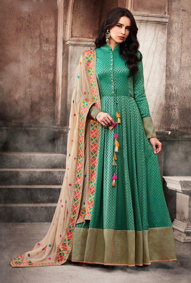 Green Designer Embroidered Suit