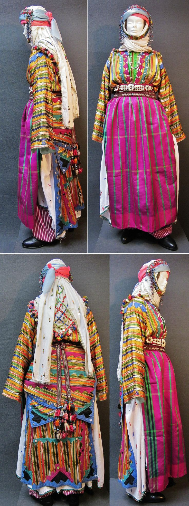 A traditional festive costume of the Üsküdarlı Tahtacı, from the Bergama region.  Clothing style: ca. 1970. The Tahtacı are Alevi Türkmen. This costume is similar to those of nearby Kozan Yaylası, but it is simpler, and with beadwork ornaments instead of silver jewelry. (Kavak Costume Collection - Antwerpen/Belgium).