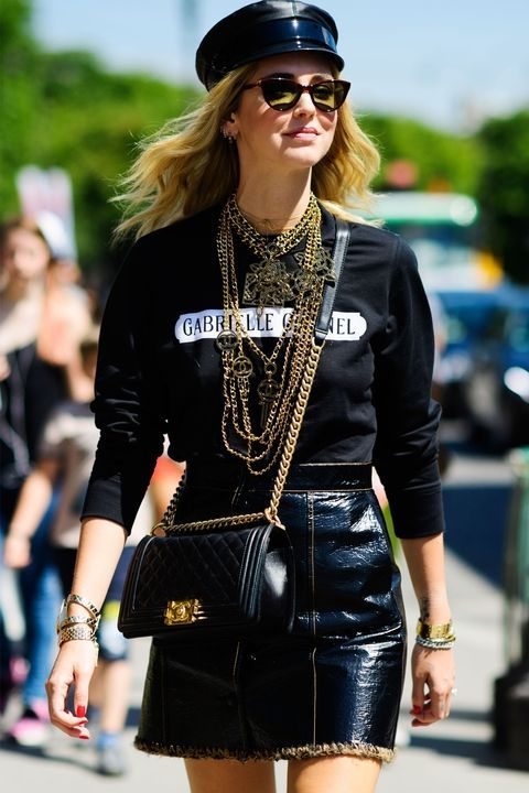 Chiara Ferragni spotted in styled couture on the streets of Paris.